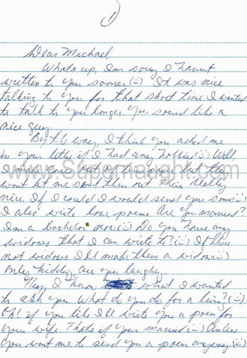 James McElroy Westies Hell's Kitchen Prison Letter