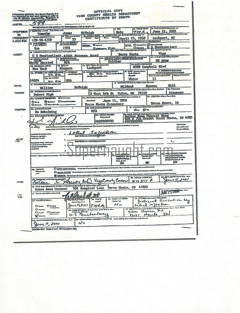 Timothy McVeigh Certificate of Death Copy