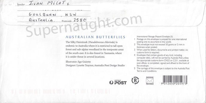 Ivan Milat prison envelope signed - Supernaught True Crime Collectibles