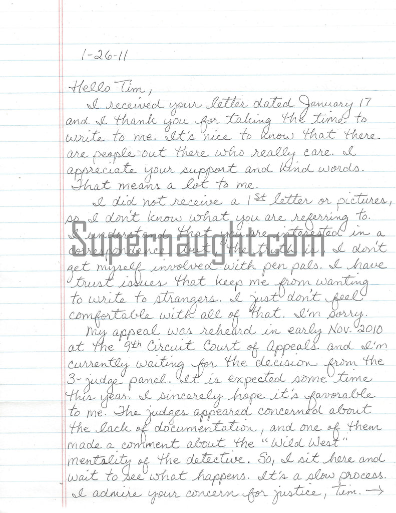 Debra Milke signed letter from death row