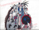 Dewey Moore Indian Warrior Painting Signed - Supernaught True Crime Collectibles - 1