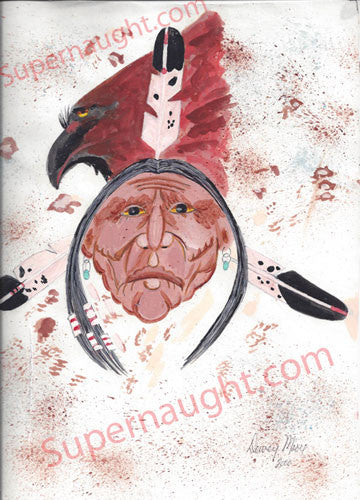 Dewey Moore Indian Painting from Death Row Signed - Supernaught True Crime Collectibles - 1