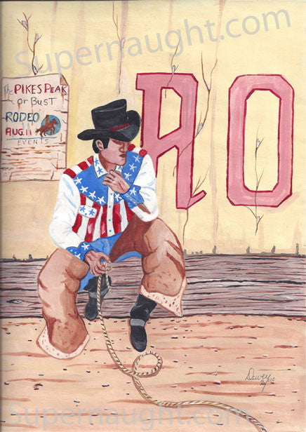 Dewey Moore Rodeo painting from death row signed - Supernaught True Crime Collectibles - 1