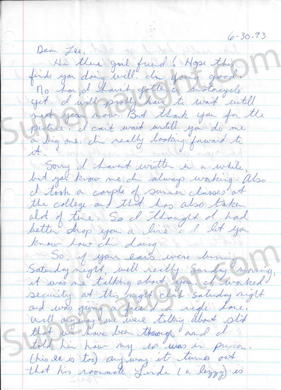 Tyria Moore signed letter Aileen Wuornos executed