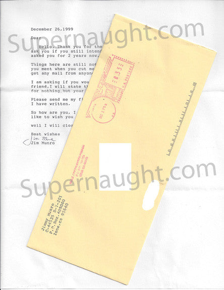 James Munro signed letter with envelope - Supernaught True Crime Collectibles