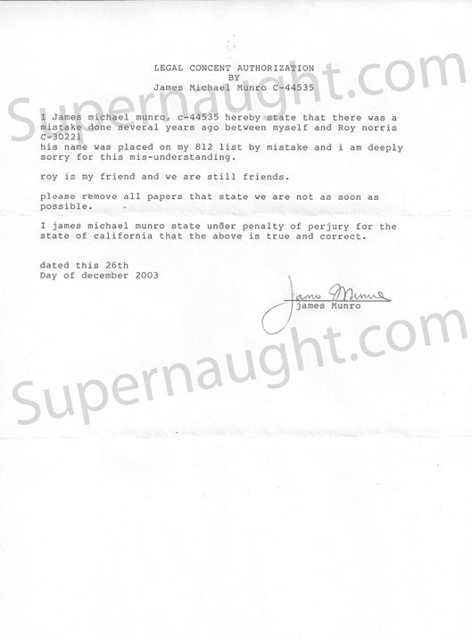 James Munro requesting Roy Norris be removed from his enemy list signed - Supernaught True Crime Collectibles