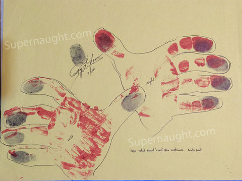 Roy Norris Hand Tracings with Blood Red Prints Signed - Supernaught True Crime Collectibles