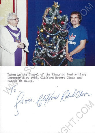 Clifford Olson 1988 Christmas photo signed in full - Supernaught True Crime Collectibles