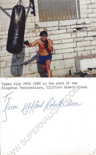 Clifford Olson prison yard photo signed in full - Supernaught True Crime Collectibles