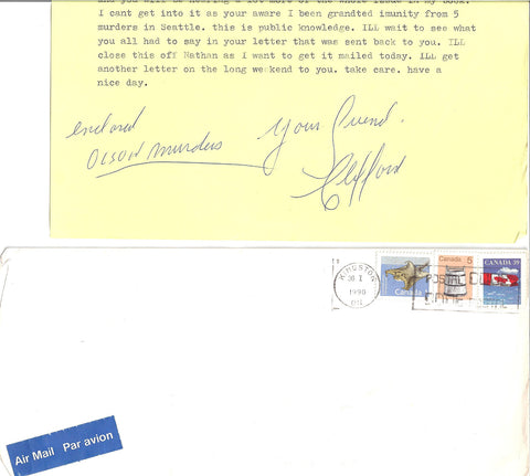 Clifford Olson letter signed OLSON MURDERS with envelope - Supernaught True Crime Collectibles
