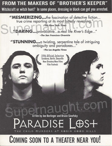 Paradise Lost West Memphis Three original movie flyer - Supernaught True Crime Collectibles - 1