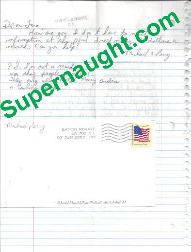 Michael Perry letter and envelope both signed - Supernaught True Crime Collectibles