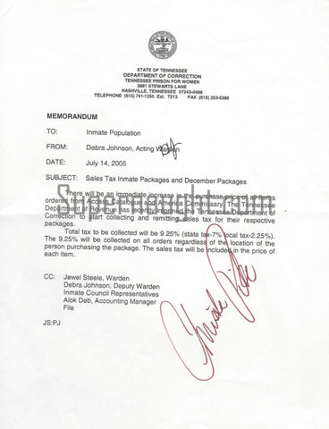 Christa Pike Signed Inmate Package Memo