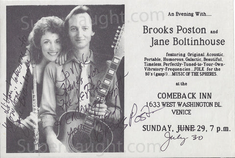 Brooks Poston Jane Boltinghouse Concert Flyer Both Signed - Supernaught True Crime Collectibles