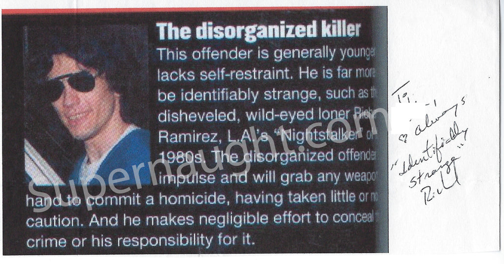 richard ramirez disorganized serial killer photo signed