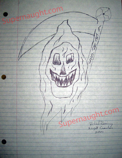 Richard Ramirez Reaper Drawing Signed Richard Ramirez Night Crawler - Supernaught True Crime Collectibles - 1