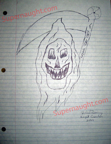 Richard Ramirez Grim Reaper Drawing Signed