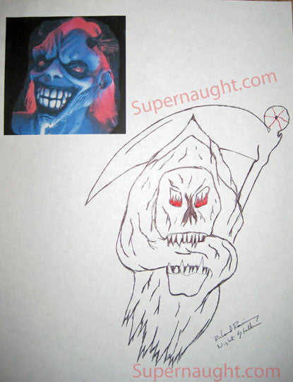 Richard Ramirez Reaper with sickle drawing signed - Supernaught True Crime Collectibles - 1