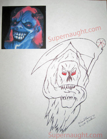 Richard Ramirez Reaper with Sickle Drawing Signed