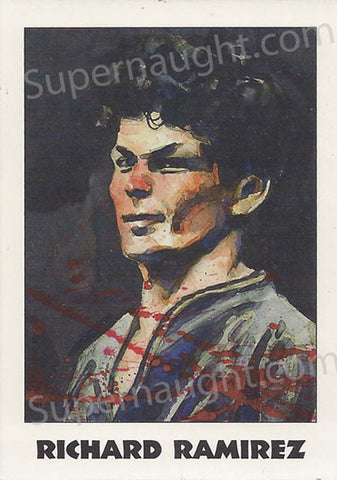Richard Ramirez trading card signed in blood red - Supernaught True Crime Collectibles - 1