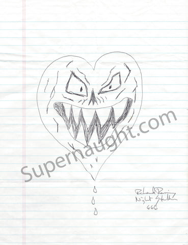 Richard Ramirez Signed Evil Heart Drawing