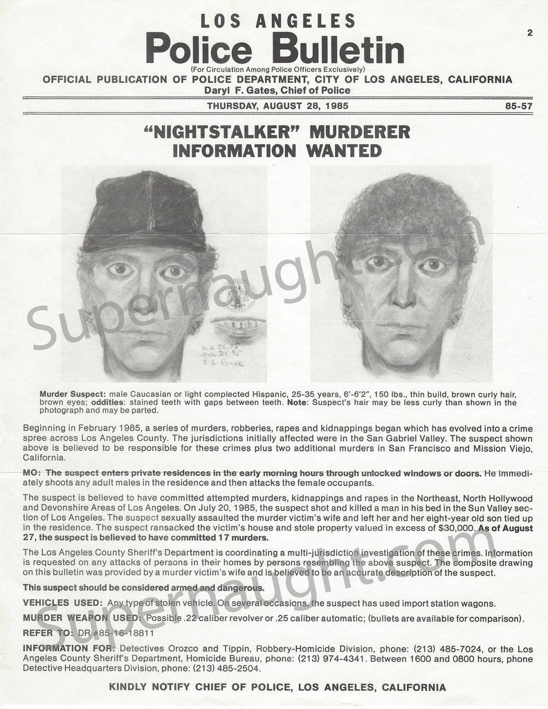 Richard Ramirez Special Bulletin Wanted Poster Replica   Supernaught True  Crime Collectibles  Criminal Wanted Poster