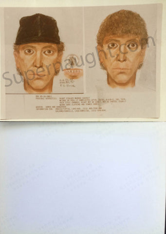Night Stalker Richard Ramirez original suspect sketches - Supernaught True Crime Collectibles