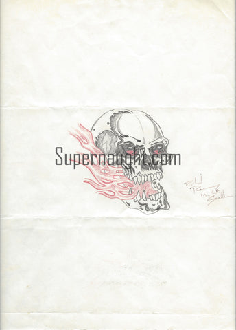 Richard Ramirez Skull and Flames Artwork Signed Night Stalker