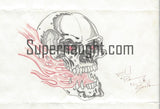 Richard Ramirez Skull and Flames Drawing Signed Night Stalker