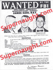 James Earl Ray replica wanted poster - Supernaught True Crime Collectibles