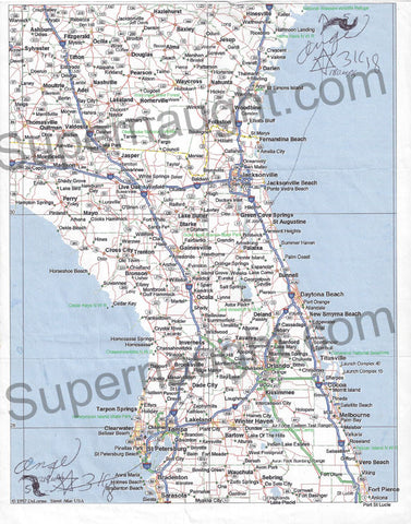 Angel Resendiz Florida Victim Map Signed Twice - Supernaught True Crime Collectibles