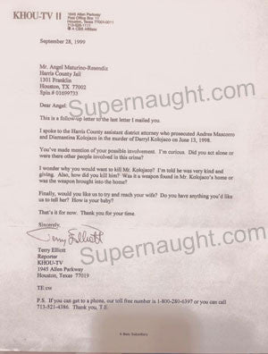 Terry Elliott KHOU TV 1998 letter to Angel Resendiz - Supernaught True Crime Collectibles