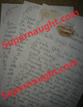 Angel Resendiz lip print letter from his cousin all three pages signed by Resendiz - Supernaught True Crime Collectibles