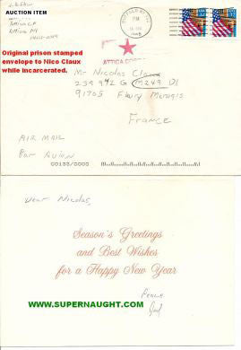 Joel Rifkin holiday card and envelope to Nico Claux both signed - Supernaught True Crime Collectibles