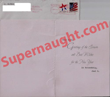 Joel Rifkin 2002 holiday card and envelope - Supernaught True Crime Collectibles