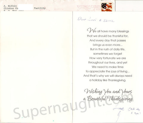 Joel Rifkin Thanksgiving card signed with envelope - Supernaught True Crime Collectibles