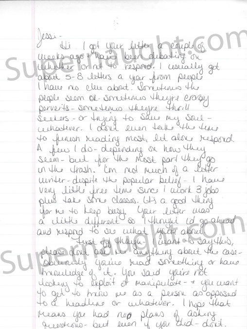 Hope Rippey 4 page letter and envelope both signed - Supernaught True Crime Collectibles - 1