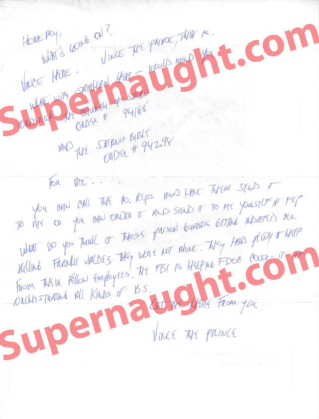 Vincent Rivera one page letter signed twice plus inserts - Supernaught True Crime Collectibles