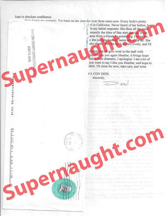 Daniel Robbins letter and envelope set both signed - Supernaught True Crime Collectibles