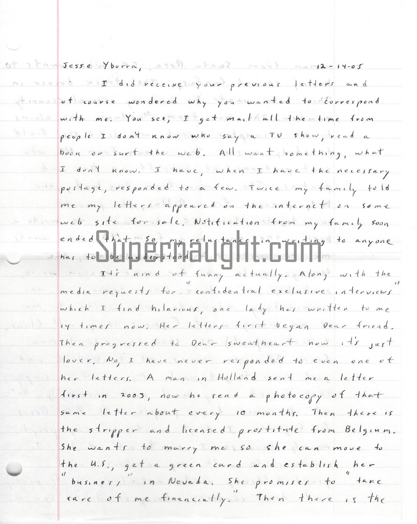 John Edward Robinson death row letter