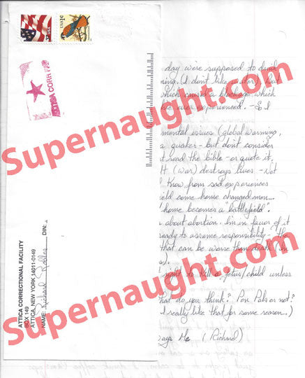 Richard Robles letter and envelope set both signed - Supernaught True Crime Collectibles