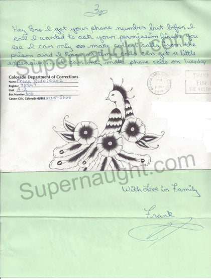 Frank Rodriguez letter and envelope artwork both signed - Supernaught True Crime Collectibles
