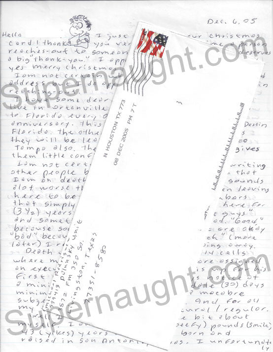 Michael Rodriguez letter with doodles envelope set both signed - Supernaught True Crime Collectibles - 1