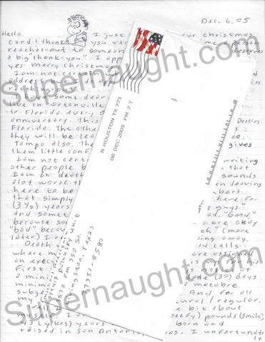 Michael Rodriguez letter with doodles death row