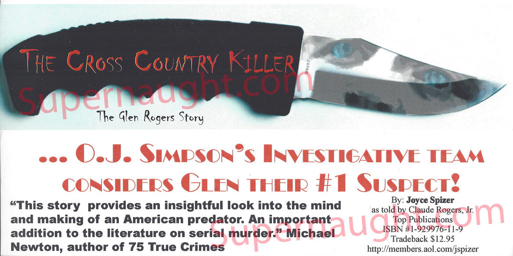 Glen Rogers Cross Country Killer promo bookmark - Supernaught True Crime Collectibles