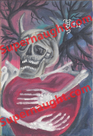 Danny Rolling oil painting skeleton heart artwork signed