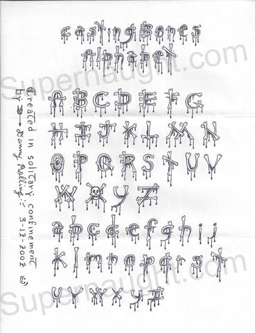 Danny Rolling letter casting bones alphabet and envelope set all signed - Supernaught True Crime Collectibles - 1