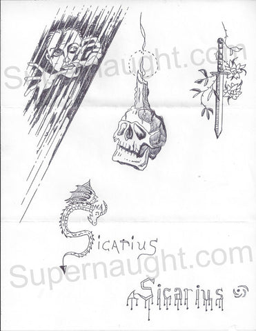 Danny Rolling creepy skull candle sword with 2 Sicarius logos - Supernaught True Crime Collectibles