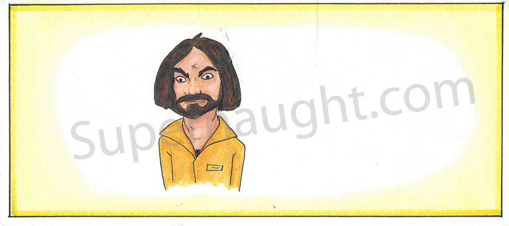 Michael Ronning Charles Manson Artwork Signed - Supernaught True Crime Collectibles - 1