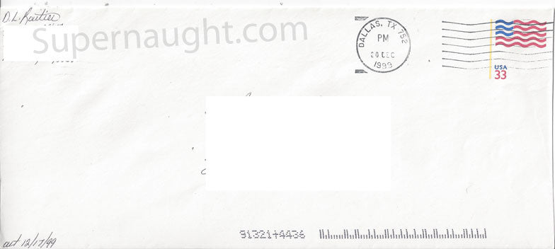 Darlie Routier county jail envelope signed - Supernaught True Crime Collectibles